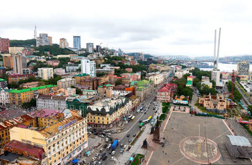 Vladivostok-The Historical Center and the main street Svetlanskaya