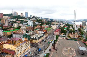 Vladivostok-The Historical Center and the main street Svetlanskaya