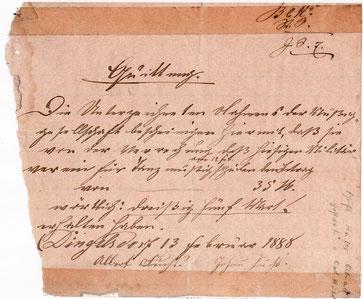 Erste Urkundliche Erwähnung des Musikverein Dingelsdorf 1888