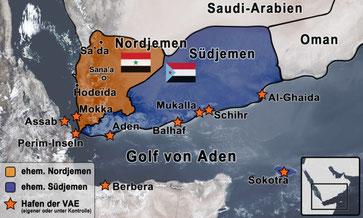 Die Vereinigten Arabischen Emirate haben am strategisch so wichtigen Golf von Aden sowie an der Bab al-Mandab-Meerenge die Kontrolle über ein dichtes Netz an Häfen erlangt bzw. gänzlich neue errichtet. By Jakob Reimann, JusticeNow!, licensed under CC BY-N