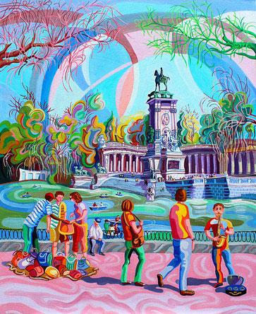 ESTANQUE DEL RETIRO (MADRID).Oil on canvas. 100 x81 x 3,5 cm.