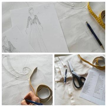 dessin-crayonnage-robe-de-mariee-patronage-creation-haute-couture-modele-unique-emmanuelle-gervy