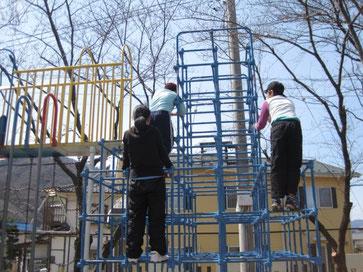 長野県上田市神川小学校に放課後等デイサービスから避難訓練と外遊び