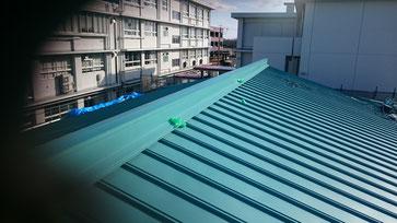 武道館の屋根の全体図。緑色の屋根が新しく施工された