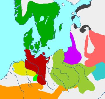 Die Jastorf-Kultur befand sich im dunkelroten Gebiet