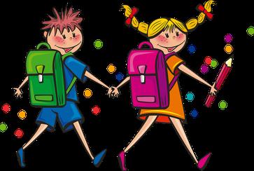 Schulmädchen und Schulbub