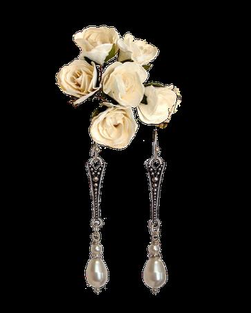 Beauté du style victorien, boucles d'oreilles Déva avec perles en cristal Swarovski nacré et strass