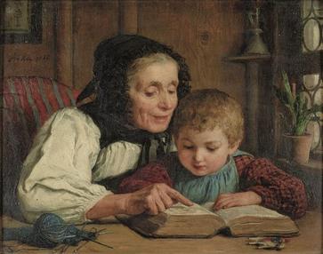 """Albert Anker, """"Das Bilderbuch"""" (1868)"""