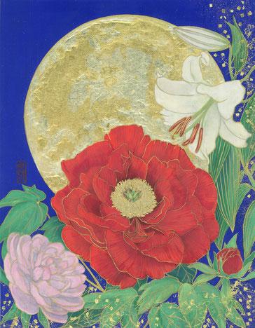 「招福月花図」 日本画 F5号