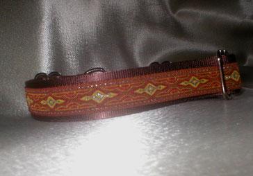 Martingale, Halsband, 2,5 cm, Gurtband schokobraun, edele Borte
