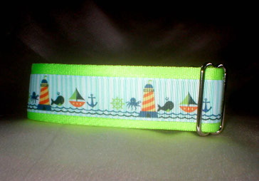 Halsband, Hund, Martingale 4cm breit, Gurtband neongrün, Borte See-, Strandmotive