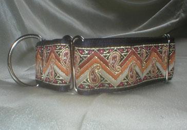 Halsband, Hund, Martingale 4cm breit, Gurtband schwarz, Borte in rotbraun Tönen