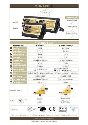 Datenblatt Infrarotheizung TANSUN MONACO Double
