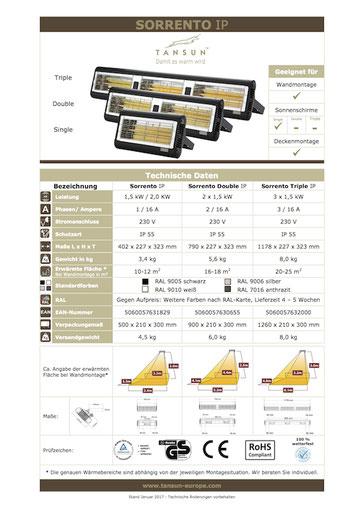 Datenblatt Infrarotheizung TANSUN Sorrento Double