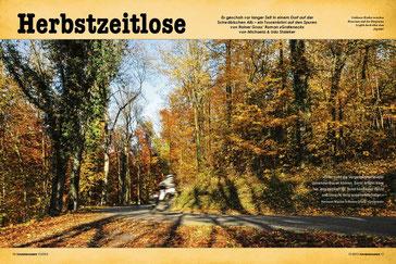 Goldener Herbst bei der Burgruine Leofels hoch über dem Jagsttal