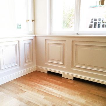 Heizungverkleidung, Paneelwände, Holzfenster, Einbau von Maßschränken und einer Garderobe,Tischlerei, Fenster, Terrasse, Abschleifen, Reparatur und Neuversiegelung alter Landhausdielen und Holztreppen