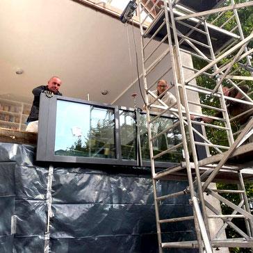 Tischlerei, Fenster, Giebelverglasung, Terrasse