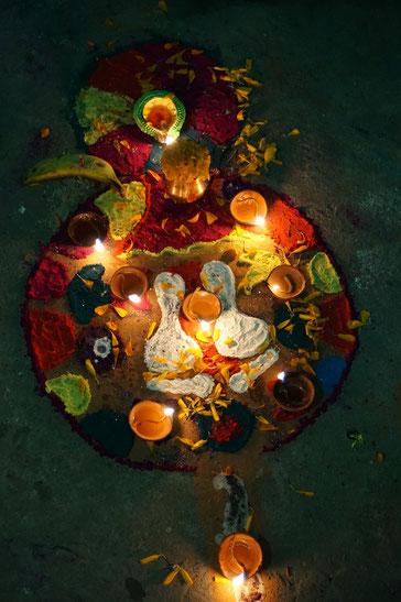 Mandala, Kerzen, Licht, bunt