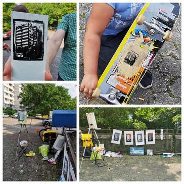 """Pleinair-Aktion im Juni 2021, kleine """"Galerie"""" mit Drucken vom Weißen Riesen und ein Stempel, mit dem auch ein Skateboard bedruckt wurde"""