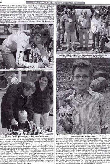 Rochade Zeitungsartikel August 2011, Melanie Ohme in Wöllstedt beim Schulfest