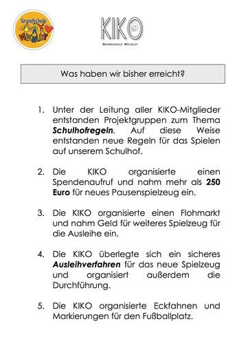 """Auszug der """"KIKO-Erfolge"""""""