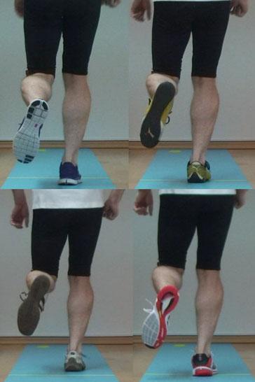 4 Ganganalysen mit verschiedenen Schuhen werden gefilmt, neben- oder übereinander gestellt zum Vergleich, Unterschiede werden sichtbar gemacht, der für den Läufer beste Schuh wird ausgewählt