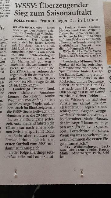Quelle: Wilhelmshavener Zeitung 25.09.2019