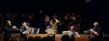 Bläser-Quintett: Jonas Reifenrath, John-Marvin Schneider, Tobias Brass, Annette Uebe, Georg Brass