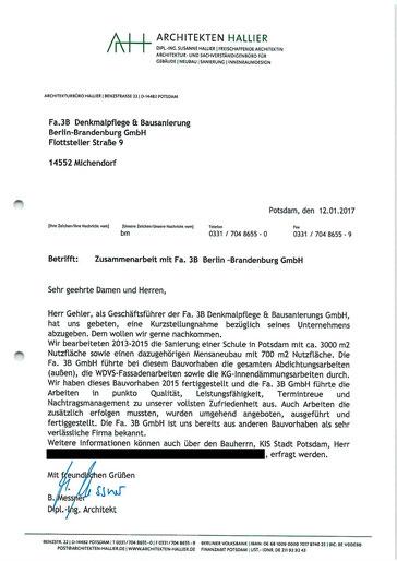 Eine positive Rezonanz für die arbeiten der 3B Denkmalpflege & Bausanierung GmbH