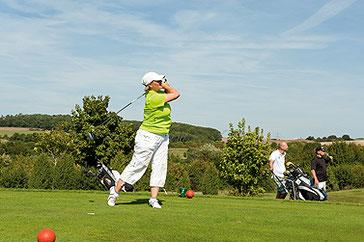 Golfspielen mit Hund,