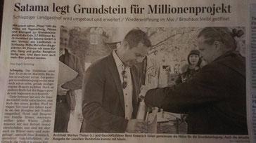 Morgner Haustechnik - Presseartikel zur Hotel Satama Grundsteinlegung