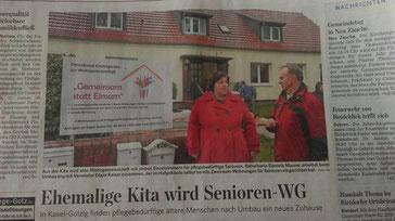 Morgner Haustechnik - Presseartikel zur Eröffnung einer Senioren WG in Kasel-Golzig