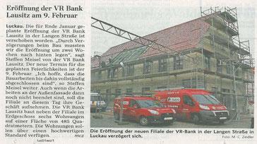 Morgner Haustechnik - Presseartikel zur Eröffnung der VR Bank in Lausitz
