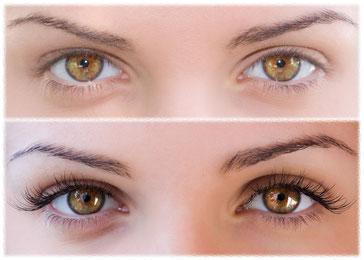 Wimpernverlängerung vorher und nachher - lange Wimpern in verschiedenen Styles