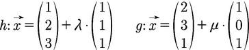 Beispiele für zwei Geraden im 3D Raum
