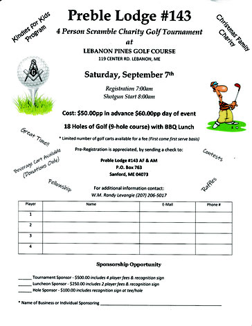 Click to enlarge. Registration form image provided to Lebanon Pines Golf Course by Preble Lodge.