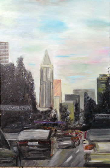 1,00m Höhe x 0,80m Breite Painting (2014) Acryl auf Leinwand Einfahrt Frankfurt
