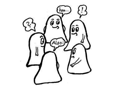 Fünf Glockenmännchen stehen beisammen. Zeichnung von Claudia Pichler Mediation Salzburg