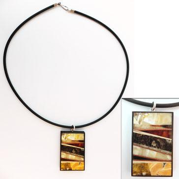 Amber'n'wood pendant. Baltic amber