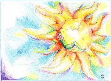 severine saint-maurice,illustration enfant,  les cercles de lumiere, illustration bien-être, dessin bien -être, dessin spiritualité, vente achat dessin peinture, oeuvre originale, papier canson, soleil