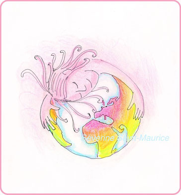 severine saint-maurice, les cercles de lumiere, illustration bien-être, dessin bien -être, dessin spiritualité, vente achat dessin peinture, oeuvre originale, illustration enfant, papier canson, gaia, terre mère, globe terrestre, amour