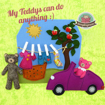 Freebook how to make a quiet book teddy hanging out  laundry