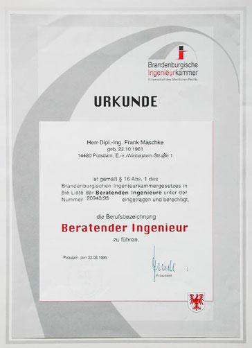 Frank Maschke Ingenieurbüro für Geotechnik  Beratender Ingenieur Urkunde