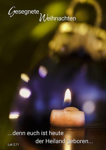 Lukas 2,11 Weihnachten, Kerze, Kugeln Licht