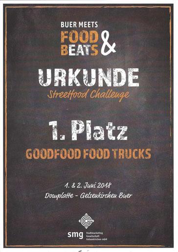 Urkunde 1. Platz GOODFOOD FOOD TUCKS bei Streetfood Challenge