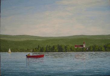 Insel Reichenau mit Fischerboot (Öl auf Leinwand, 50 x 70 cm)