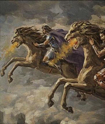 Une immense armée de cavaliers apparait sous les ordres de Jésus. Leurs chevaux ont une tête de lion crachant du feu, de la fumée et du soufre et une queue ressemblant à un serpent.  Le tiers des hommes sont exterminés.