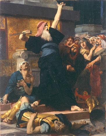 Un prêtre nommé Mathathias et ses 5 fils (dont Judas Maccabée) ont joué un rôle important dans ce combat contre le paganisme imposé avec la plus grande violence. Cette famille sera désignée sous le nom de « Maccabées ».