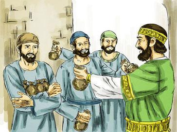 Un homme de haute naissance est parti dans un pays lointain pour recevoir la royauté. Il confie à ses serviteurs des pièces d'or afin de les faire fructifier. Quant à ses ennemis qui n'ont pas accepté son règne, ils sont mis à mort devant lui.