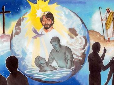 Allez [donc], faites de toutes les nations des disciples, baptisez-les au nom du Père, du Fils et du Saint-Esprit et enseignez-leur à mettre en pratique tout ce que je vous ai prescrit.